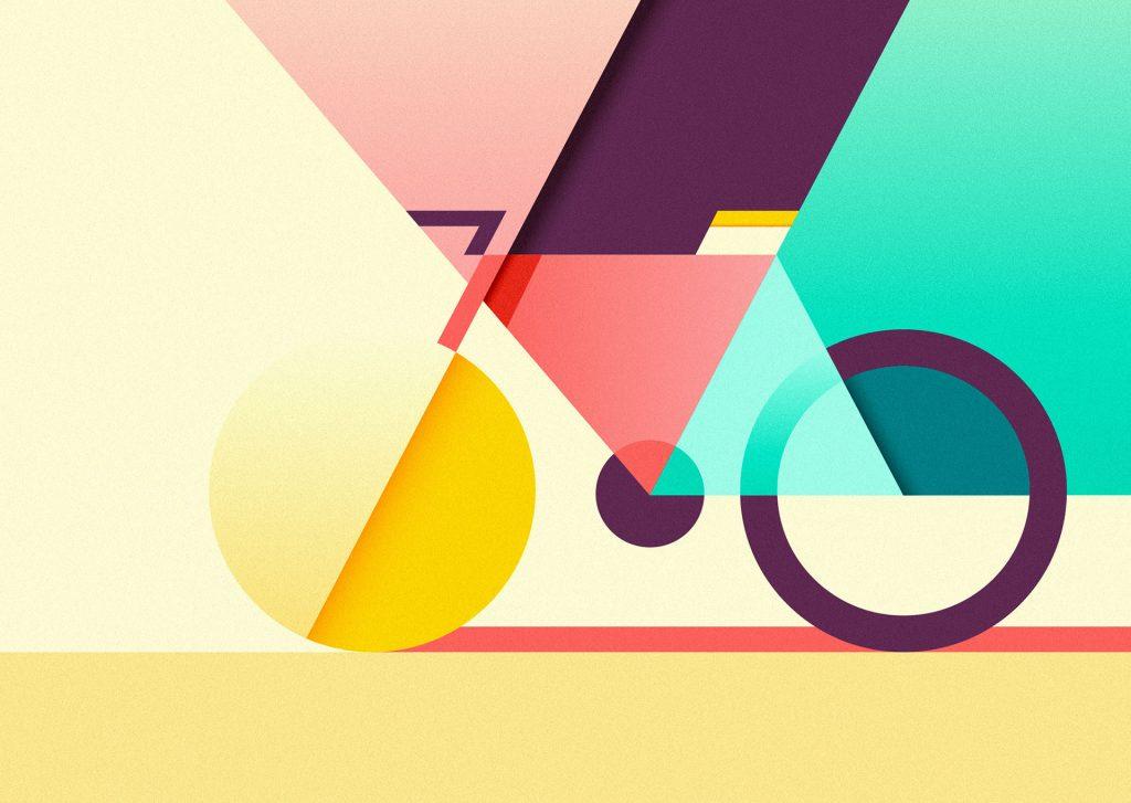 Színes bicikli illusztráció