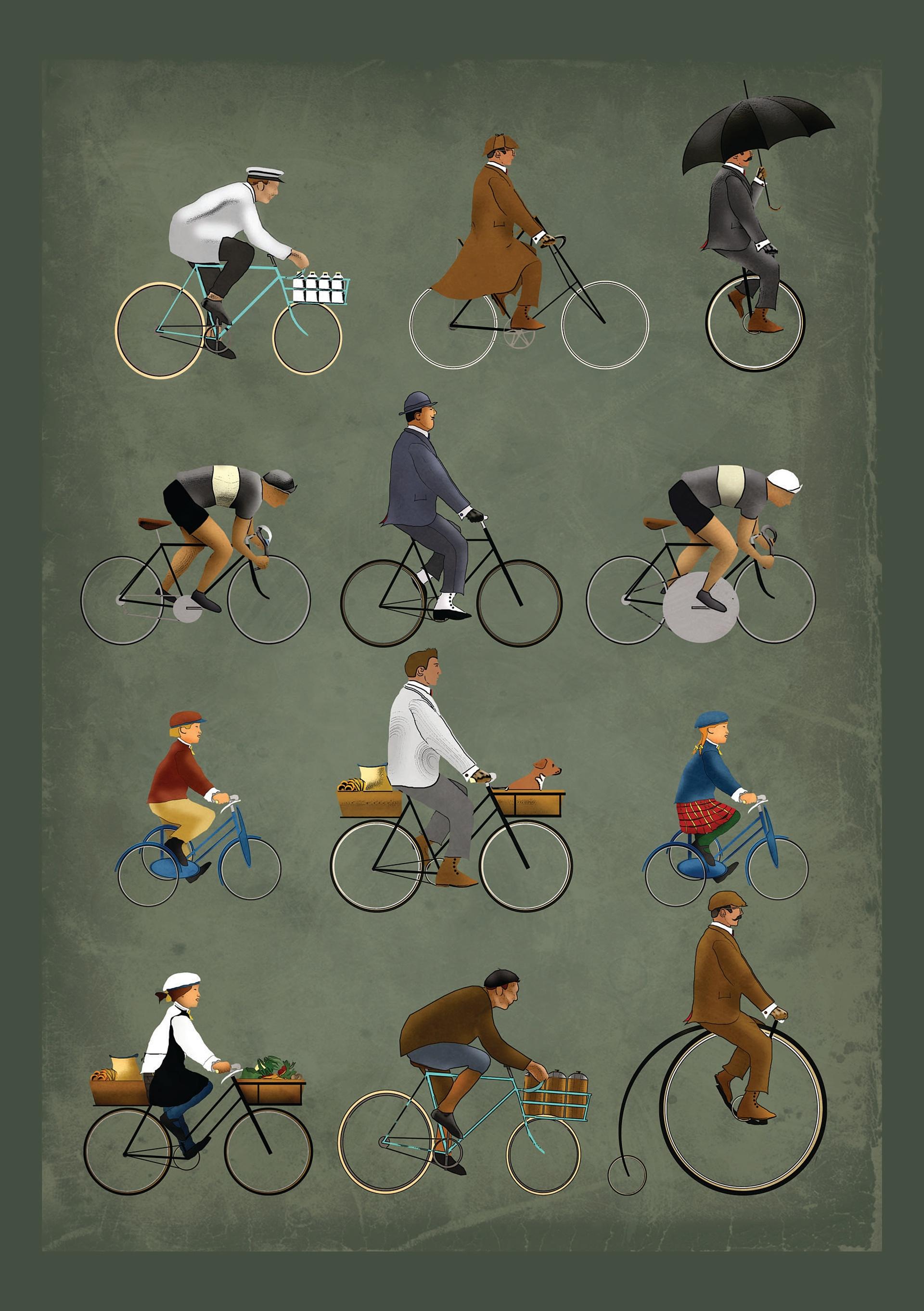 retró bicikli rajzok
